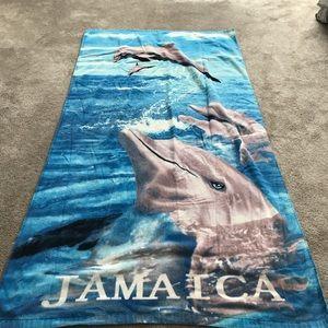 Cute dolphin Jamaica towel